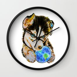 Arien - The Dreaming Husky Wall Clock
