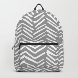 Abstract Herringbone Pattern, Rustic, Gray and White Backpack