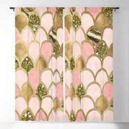 Rose gold blush mermaid scales Blackout Curtain