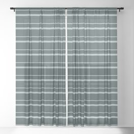 Blue Willow Green PPG1145-4 Horizontal Stripes Pattern 3 on Night Watch PPG1145-7 Sheer Curtain