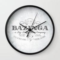 bazinga Wall Clocks featuring Bazinga Vintage by Nxolab