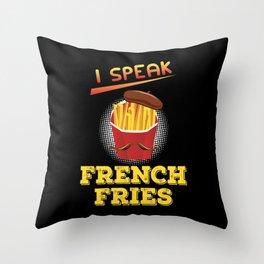 Speak French Fries Sticks Holder Hat Beard Gift Throw Pillow