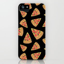 Pizza Party Black Pattern iPhone Case