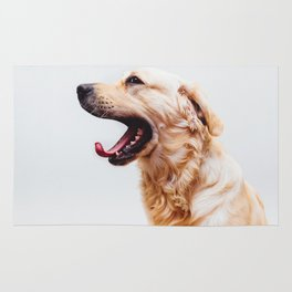 Golden Retriever Dog Yawning Rug