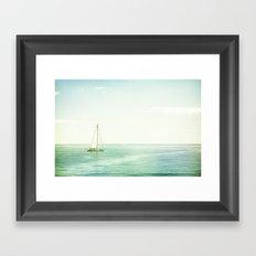 Sailboat Coastal Photography, Sail Boat Ocean Sea Photo Framed Art Print