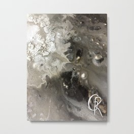 Winter Abstract Painting, Mixed Media On Canvas, Close Up Photograph, Abstract Artwork Contemporary Metal Print