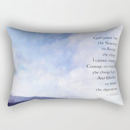 Serenity Prayer Blue Sky Gentle Clouds Rectangular Pillow