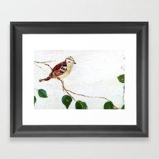 Bird painted on wood Framed Art Print