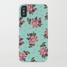 Pink Roses on Blue iPhone X Slim Case