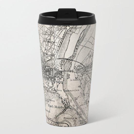 Vintage Paris old retro map Metal Travel Mug