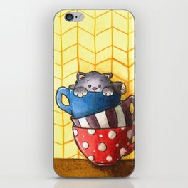 Cups and kitten iPhone Skin