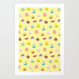 Cupcakes - yellow Art Print