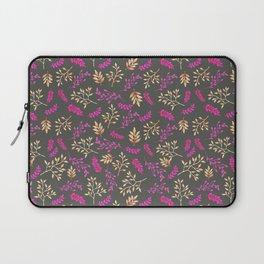 Botanical neon pink brown gray floral illustration Laptop Sleeve