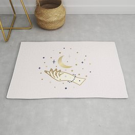 Magical hand and moon illustration Rug