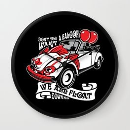 Scary Clown Car, Inspired By The Horror Movie IT Wall Clock