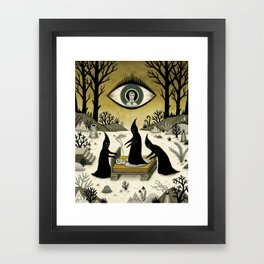 Three Shadow People Terrify a Victim During an Episode of Sleep Paralysis Framed Art Print