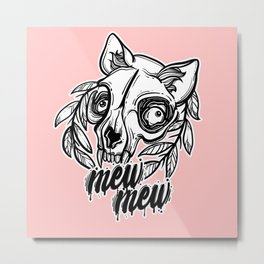 skull of a cat. mew mew cat. Metal Print