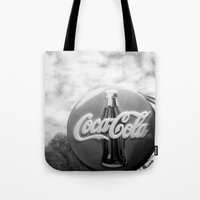 coca cola Tote Bags featuring Coca Cola  by Chris' Landscape Images & Designs