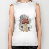 mushroom Biker Tanks featuring mushroom by Zuhal Arslan