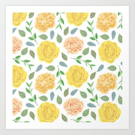 Hand painted yellow coral watercolor modern floral Art Print