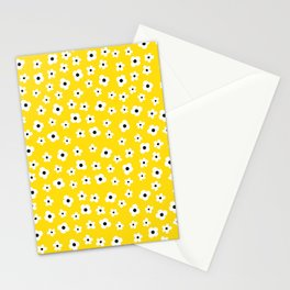 White Yellow Spring Flower Pattern Stationery Cards