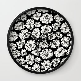 Spotted modern floral on black Wall Clock