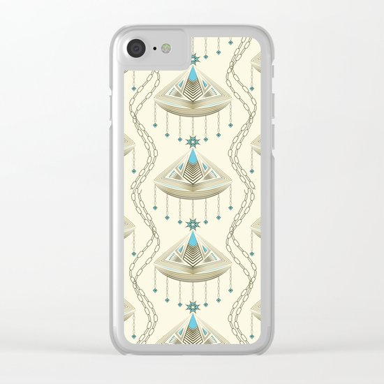 Beautiful medallions with blue appliqués . Clear iPhone Case