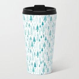 Christmas tree forest on white Travel Mug