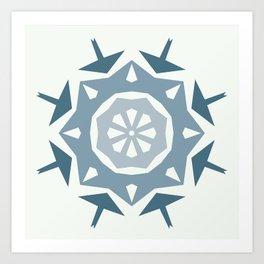 Geometric Arrow and Diamonds in Blues Art Print