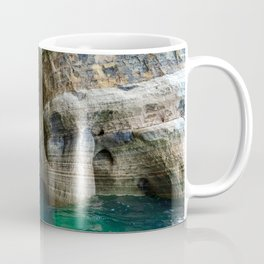 Red Kayak in Lake Superior Cave Coffee Mug