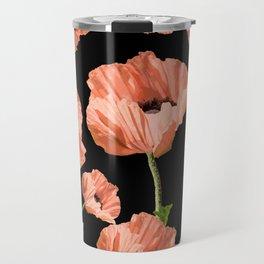 Beautiful Poppy Flowers Black Background #decor #society6 #buyart Travel Mug