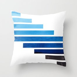 Prussian Blue Midcentury Modern Minimalist Staggered Stripes Rectangle Geometric Aztec Pattern Water Throw Pillow