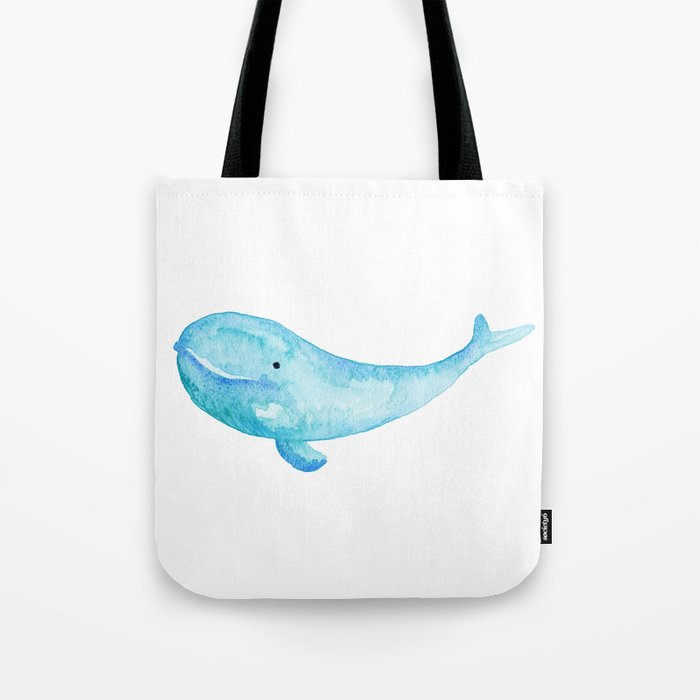 Cute Whale Watercolor Painting Ocean Life R Blue Tote Bag By Graphicbrat