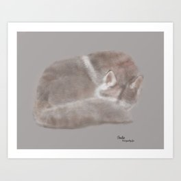 """Indie; a Husky girl & the """"living room wolf"""" Art Print"""