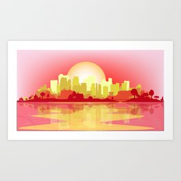 City At The Dusk Art Print