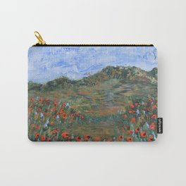 Realm of Poppies, abstract landscape painting, red poppies Carry-All Pouch