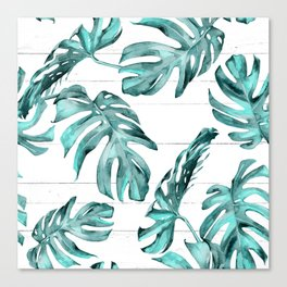 Turquoise Palm Leaves on White Wood Canvas Print