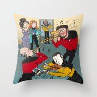 band Throw Pillows featuring Star Trek Jam Band by Jessica Fink