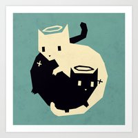 yetiland Art Prints featuring we need each other by Yetiland