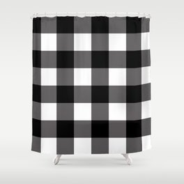 Black & White Buffalo Plaid Shower Curtain
