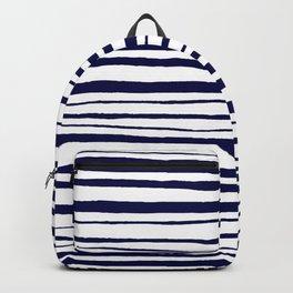 Blue- White- Stripe - Stripes - Marine - Maritime - Navy - Sea - Beach - Summer - Sailor 3 Backpack