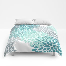 Floral Pattern, Aqua, Teal, Turquoise and Gray Comforters