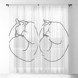 Sleeping Cat Sheer Curtain