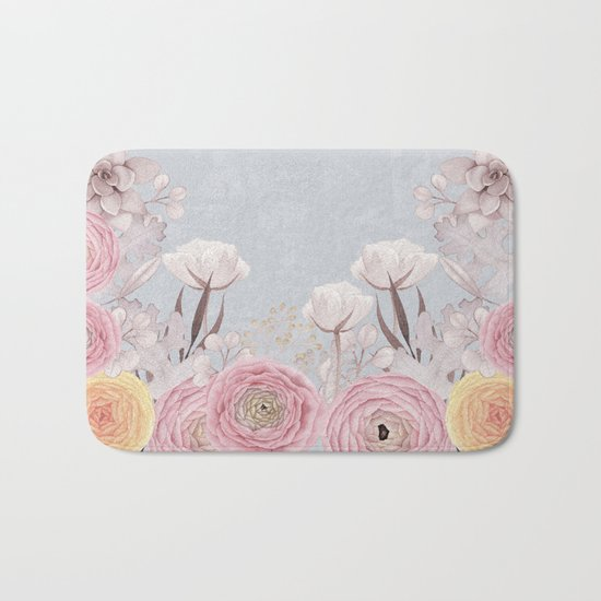 Floral Spring Greatings - Pastel Flowers on #Society6 Bath Mat