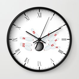 Falling Ten Pins Wall Clock
