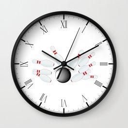 Falling Ten Pins Wall Clock