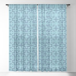 Nordic Soft Blue - Scandinavian Cross Minimalism Sheer Curtain