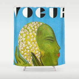 1931 Vintage Art Deco Flapper Young Woman Magazine Cover by Eduardo Garcia Benito Shower Curtain