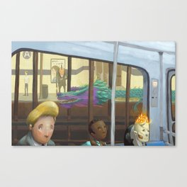 The Adventurers on the subway Canvas Print