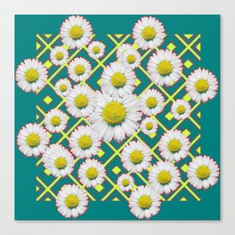 Teal Color Shasta Daisies Lime Pattern Art Abstract Canvas Print